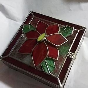 Poinsettia Stained Glass Trinket box